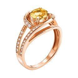 Кольцо из красного золота с цитрином и фианитами 000137462