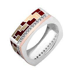 Серебряное кольцо с золотой накладкой, фианитами и цветной эмалью 000067125
