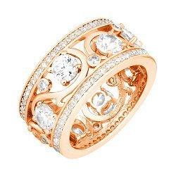 Серебряное кольцо с фианитами и позолотой в стиле Тиффани 000072166