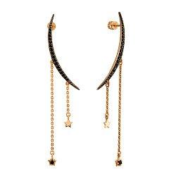 Серьги-подвески из красного золота с черными фианитами 000117495