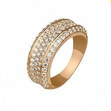 Золотое кольцо Россыпь в красном цвете с фианитами