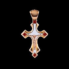 Детский золотой крестик Solomia с рубинами и белой эмалью