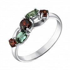 Серебряное кольцо Деми с гранатом, кристаллами зеленого кварца и фианитами