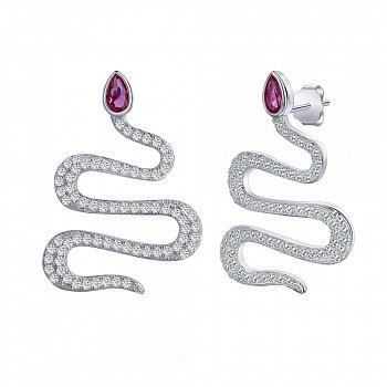 Срібні сережки-пусети з рубіновим і білим цирконієм 000116672
