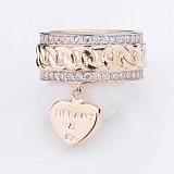 Золотое кольцо Альдента с фианитами и подвеской в стиле Тиффани