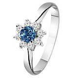 Золотое кольцо с сапфиром и бриллиантами Миранда