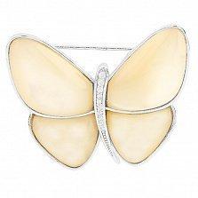Серебряная брошь Бабочка с перламутром и фианитами