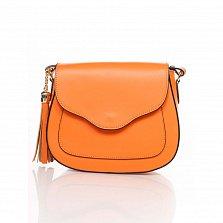 Кожаный клатч Genuine Leather 6209 оранжевого цвета с клапаном на магните и плечевым ремнем