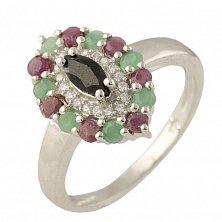 Серебряное кольцо Ламара с сапфиром, рубинами, изумрудами и фианитами