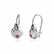 Серебряные серьги Райское яблочко с зеленым и красным цирконием
