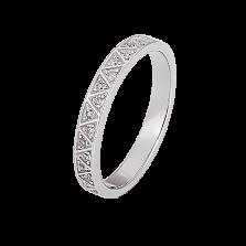 Кольцо из белого золота Симфония с узорной шинкой и бриллиантами