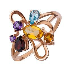 Кольцо из красного золота с россыпью полудрагоценных камней 000147819
