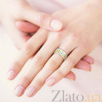 Обручальное кольцо из белого золота с эмалью Талисман: Мира 3123