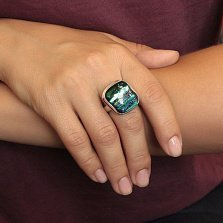 Серебряное кольцо Дно реки с имитацией опала