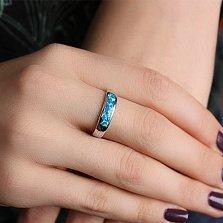 Серебряное кольцо с синтезированным опалом Берлинская лазурь