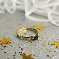Золотое кольцо Миледи в евро цвете с сапфиром и бриллиантами