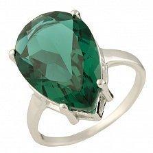 Серебряное кольцо Тамила с синтезированным изумрудом