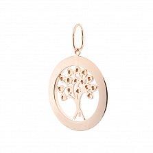 Золотой кулон Дерево любви в комбинированном металле