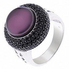 Серебряное кольцо Ардин с чёрным  жемчугом и чёрным цирконием
