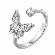 Серебряное кольцо Порхающая бабочка с фианитами