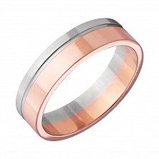 Золотое обручальное кольцо Обещание в комбинированном цвете