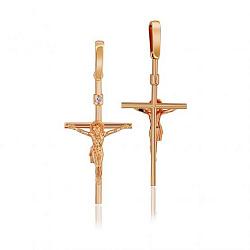 Православный крестик из красного золота с бриллиантом 000001141