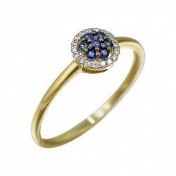 Кольцо из желтого золота Ивори с сапфирами и бриллиантами