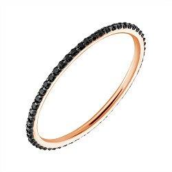 Кольцо в красном золоте с черными фианитами 000010259