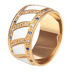Женсоке обручальное кольцо Небесные Крылья с белой эмалью, сапфирами и бриллиантами 000049993
