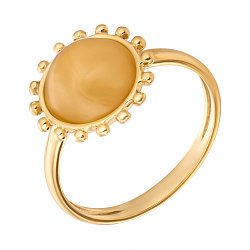 Позолоченное серебряное кольцо с лимонным янтарем 000118962