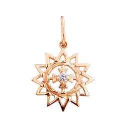 Кулон из красного золота Звезда Эрцгаммы с цирконием 00000319