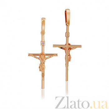 Золотой крестик с бриллиантом Исповедь EDM--КР7152