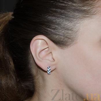 Серебряные серьги с бриллиантами и сапфирами Колосок ZMX--EDS-15431-Ag