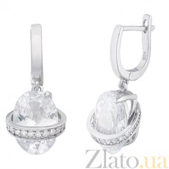 Серебряные сережки-подвески с фианитами Опра 000024658