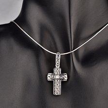 Серебряный крестик Узорный с кристаллом циркония