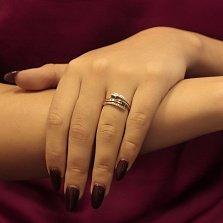 Золотое кольцо Течение времени с лондон топазами и фианитами