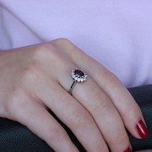 Золотое кольцо Эстесса в белом цвете с турмалином и бриллиантами
