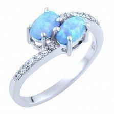 Серебряное кольцо Персис с голубым опалом и фианитами
