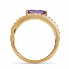 Золотое кольцо Царица Нефертити с аметистом огранки маркиз и фианитами