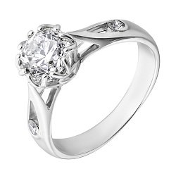 Кольцо из белого золота с бриллиантами 000006040
