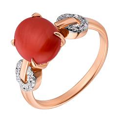 Золотое кольцо Алисия с кораллом и фианитами 000088493