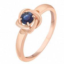 Кольцо в красном золоте Орбита с сапфиром
