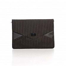 Кожаный клатч Genuine Leather 8051 в черном цвете с механическим замком на клапане