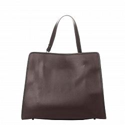 Кожаная деловая сумка Genuine Leather 8877 коричневого цвета на молнии, с металлическими ножками