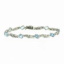 Серебряный браслет Блюз с голубыми топазами и бриллиантами