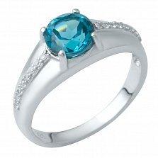 Серебряное кольцо Тора с лондон топазом и фианитами