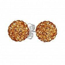 Серебряные пуссеты-шары Блеск с теплыми желтыми кристаллами Swarovski