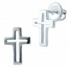 Серебряные серьги-пуссеты Лаконичный крестик