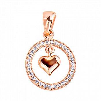 Золота підвіска в червоному кольорі з підвісним сердечком в колі з фіанітами 000117416