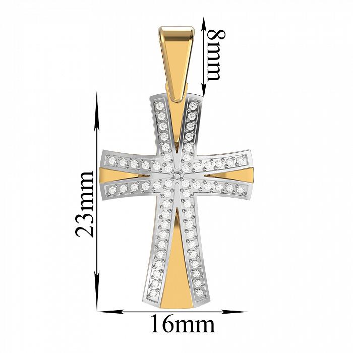 Золотой крестик Путеводный в комбинированном цвете с бриллиантами  VLA--33300